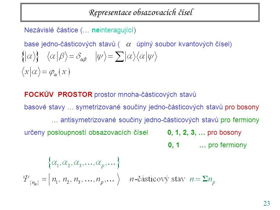 23 Nezávislé částice (… neinteragující) base jedno-částicových stavů (  úplný soubor kvantových čísel) FOCKŮV PROSTOR prostor mnoha-částicových stavů basové stavy … symetrizované součiny jedno-částicových stavů pro bosony … antisymetrizované součiny jedno-částicových stavů pro fermiony určeny posloupností obsazovacích čísel 0, 1, 2, 3, … pro bosony 0, 1 … pro fermiony Representace obsazovacích čísel