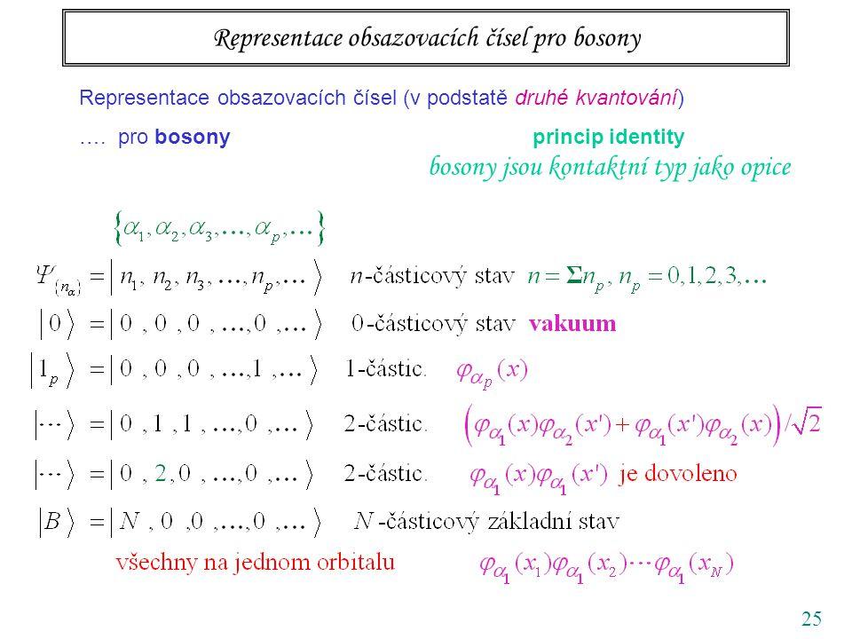 25 Representace obsazovacích čísel (v podstatě druhé kvantování) ….
