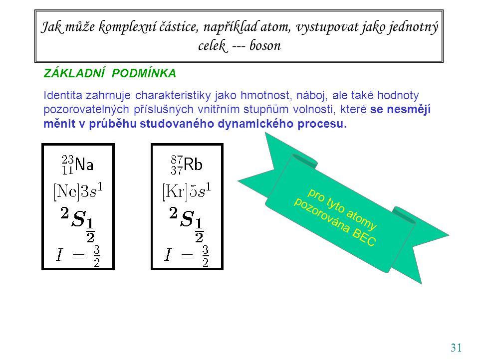 31 Jak může komplexní částice, například atom, vystupovat jako jednotný celek --- boson ZÁKLADNÍ PODMÍNKA Identita zahrnuje charakteristiky jako hmotnost, náboj, ale také hodnoty pozorovatelných příslušných vnitřním stupňům volnosti, které se nesmějí měnit v průběhu studovaného dynamického procesu.