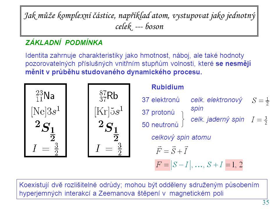 35 Jak může komplexní částice, například atom, vystupovat jako jednotný celek --- boson ZÁKLADNÍ PODMÍNKA Identita zahrnuje charakteristiky jako hmotnost, náboj, ale také hodnoty pozorovatelných příslušných vnitřním stupňům volnosti, které se nesmějí měnit v průběhu studovaného dynamického procesu.