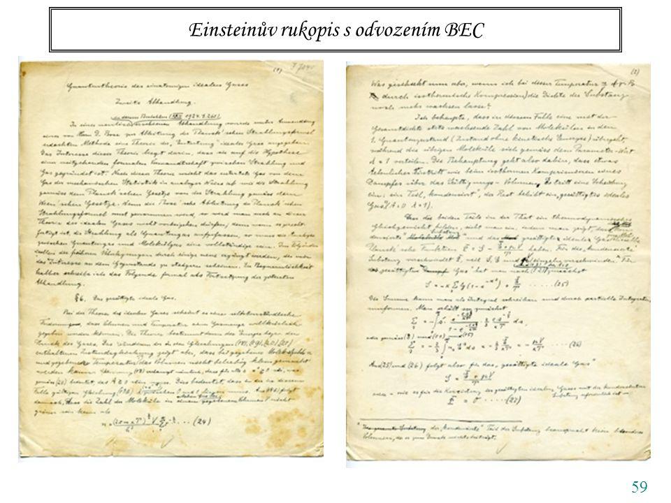 59 Einsteinův rukopis s odvozením BEC