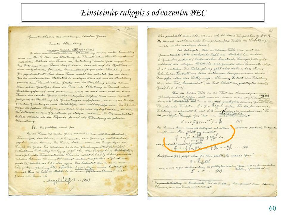 60 Einsteinův rukopis s odvozením BEC