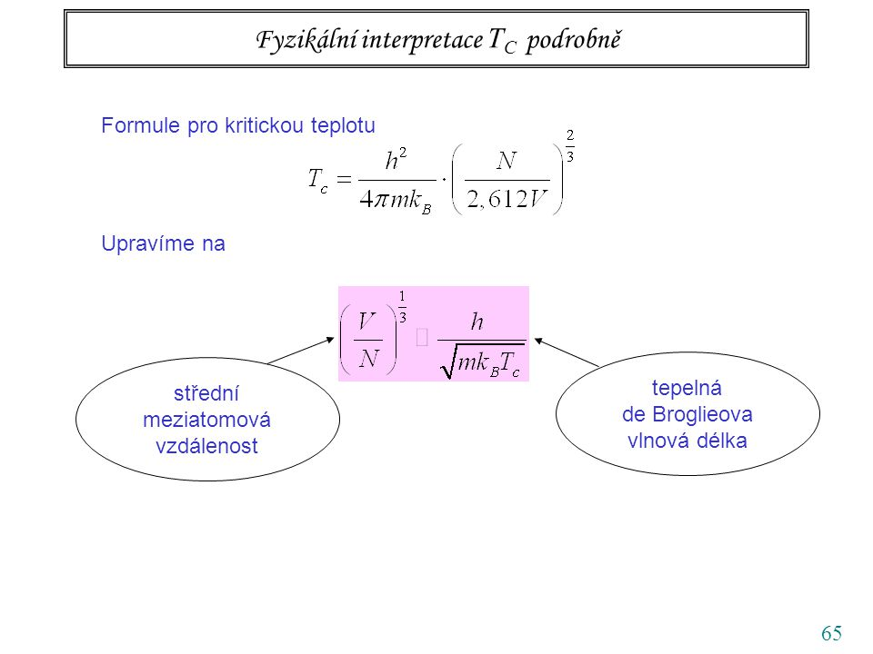 65 Fyzikální interpretace T C podrobně Formule pro kritickou teplotu Upravíme na střední meziatomová vzdálenost tepelná de Broglieova vlnová délka
