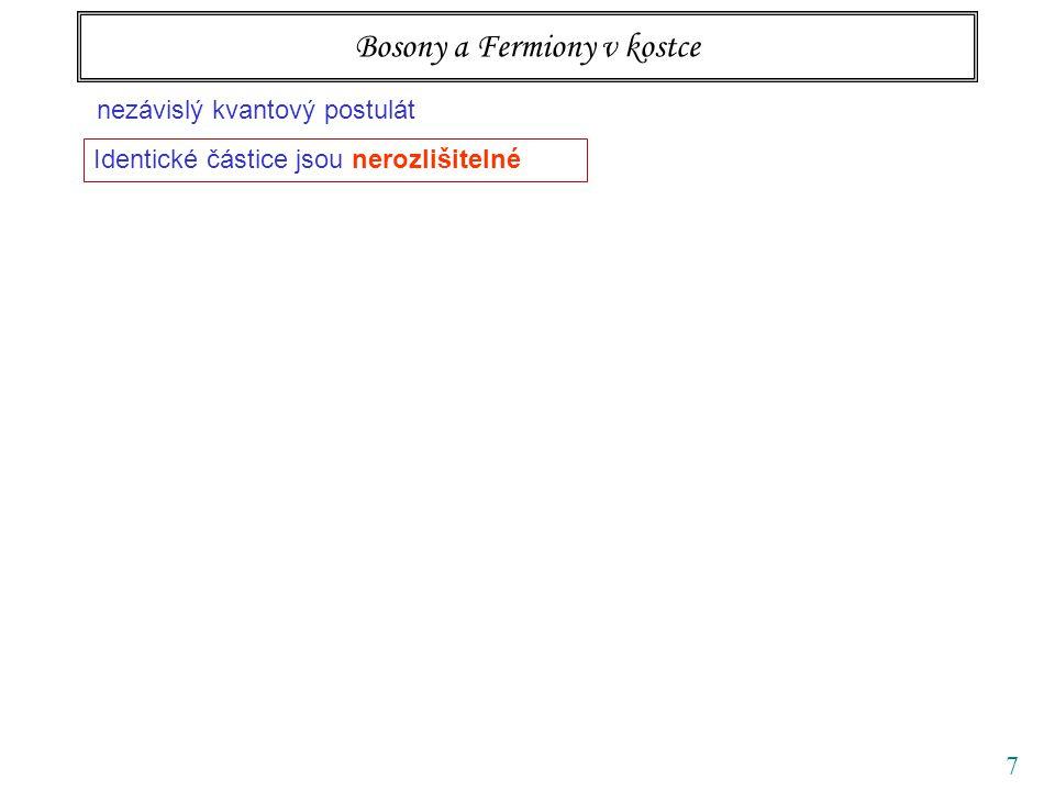 7 Bosony a Fermiony v kostce nezávislý kvantový postulát Identické částice jsou nerozlišitelné