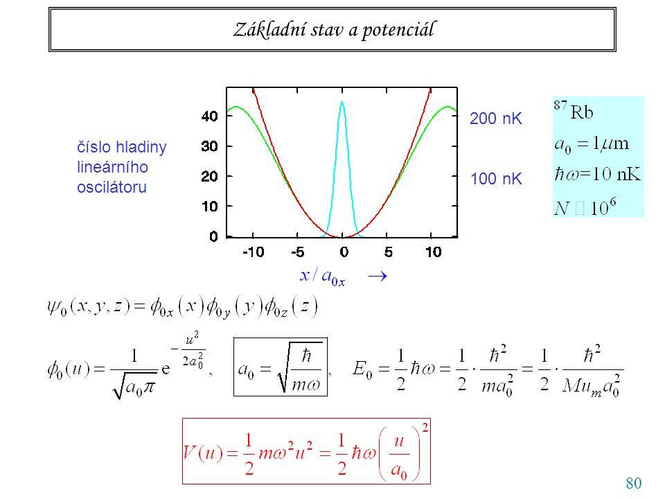 80 Základní stav a potenciál číslo hladiny lineárního oscilátoru 100 nK 200 nK