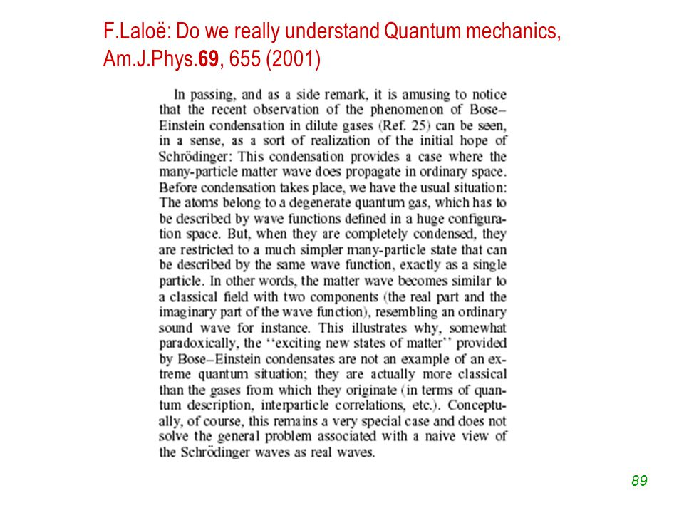 89 F.Laloë: Do we really understand Quantum mechanics, Am.J.Phys. 69, 655 (2001)