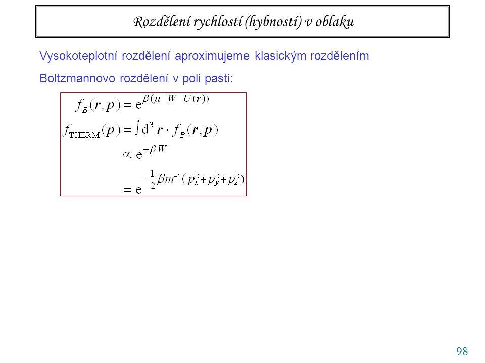 98 Rozdělení rychlostí (hybností) v oblaku Vysokoteplotní rozdělení aproximujeme klasickým rozdělením Boltzmannovo rozdělení v poli pasti: