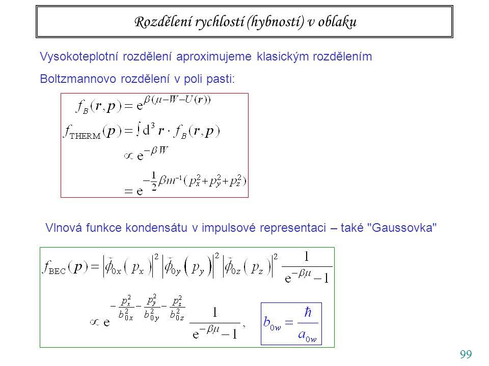 99 Rozdělení rychlostí (hybností) v oblaku Vysokoteplotní rozdělení aproximujeme klasickým rozdělením Boltzmannovo rozdělení v poli pasti: Vlnová funkce kondensátu v impulsové representaci – také Gaussovka