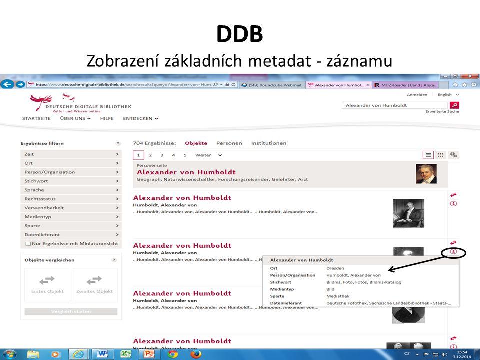 DDB Zobrazení základních metadat - záznamu