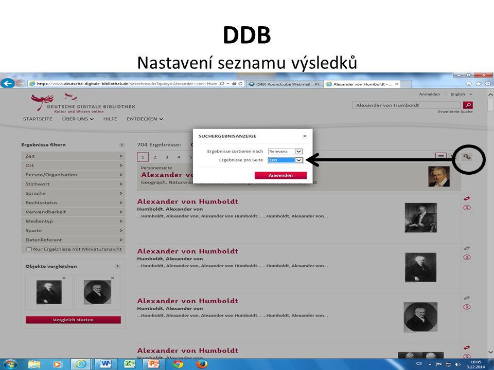 DDB Nastavení seznamu výsledků