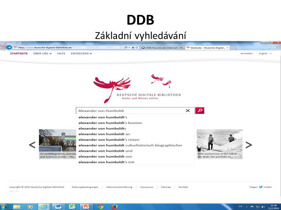 DDB Základní vyhledávání