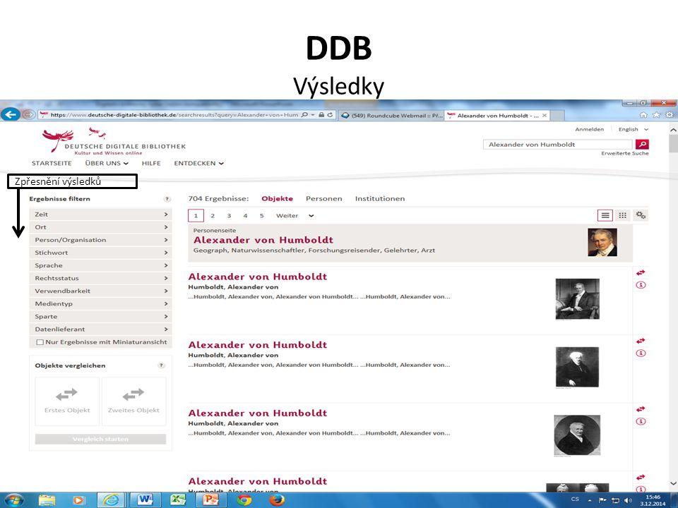 DDB Výsledky Zpřesnění výsledků