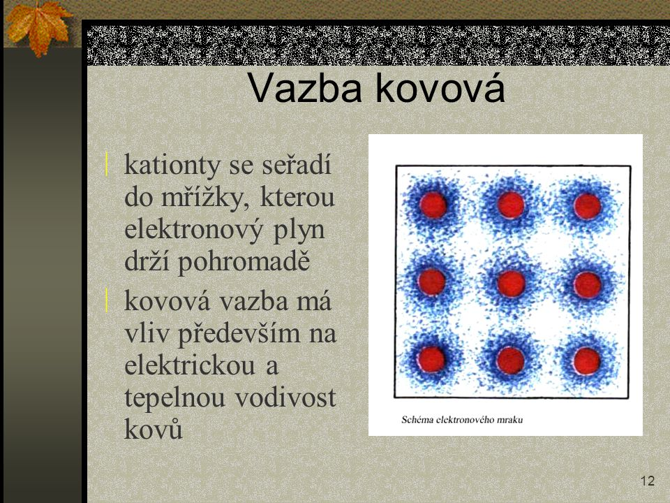 12 Vazba kovová ÷ kationty se seřadí do mřížky, kterou elektronový plyn drží pohromadě ÷ kovová vazba má vliv především na elektrickou a tepelnou vodi