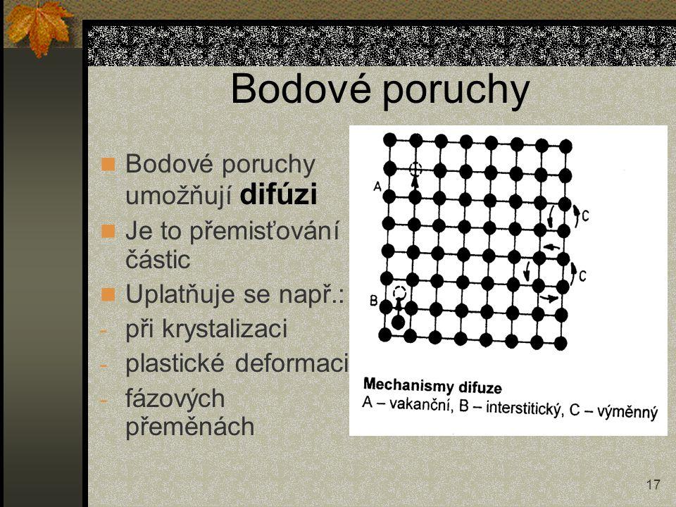 17 Bodové poruchy Bodové poruchy umožňují difúzi Je to přemisťování částic Uplatňuje se např.: - při krystalizaci - plastické deformaci - fázových pře