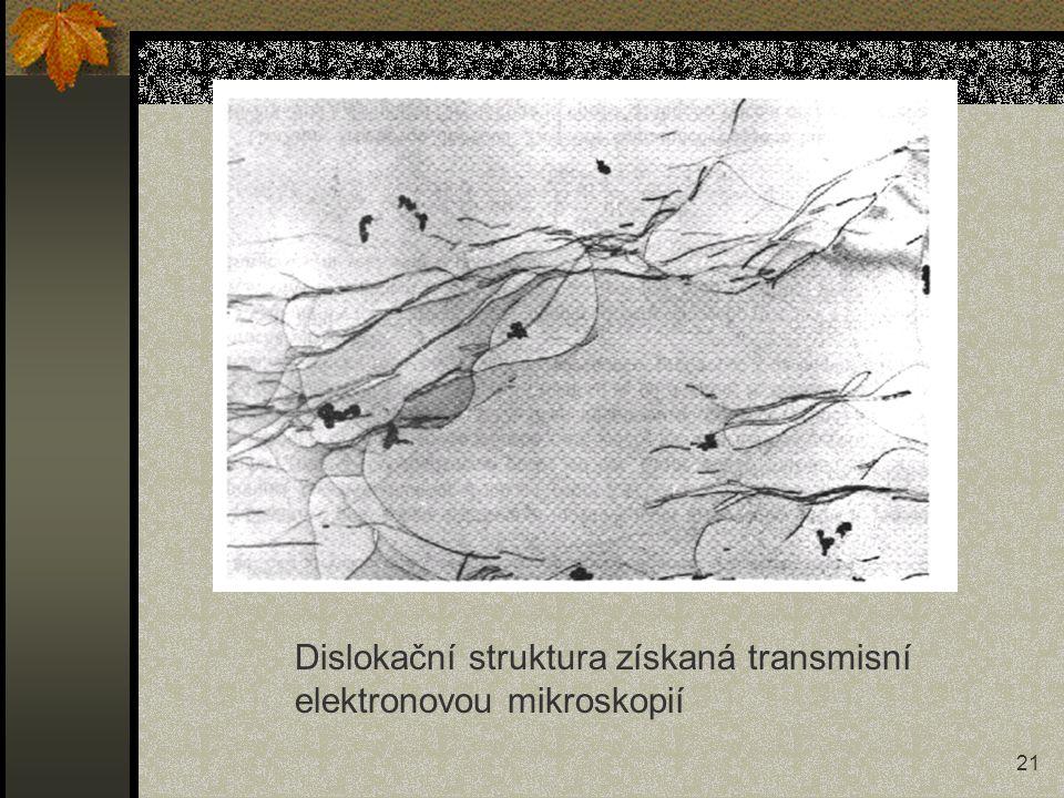21 Dislokační struktura získaná transmisní elektronovou mikroskopií
