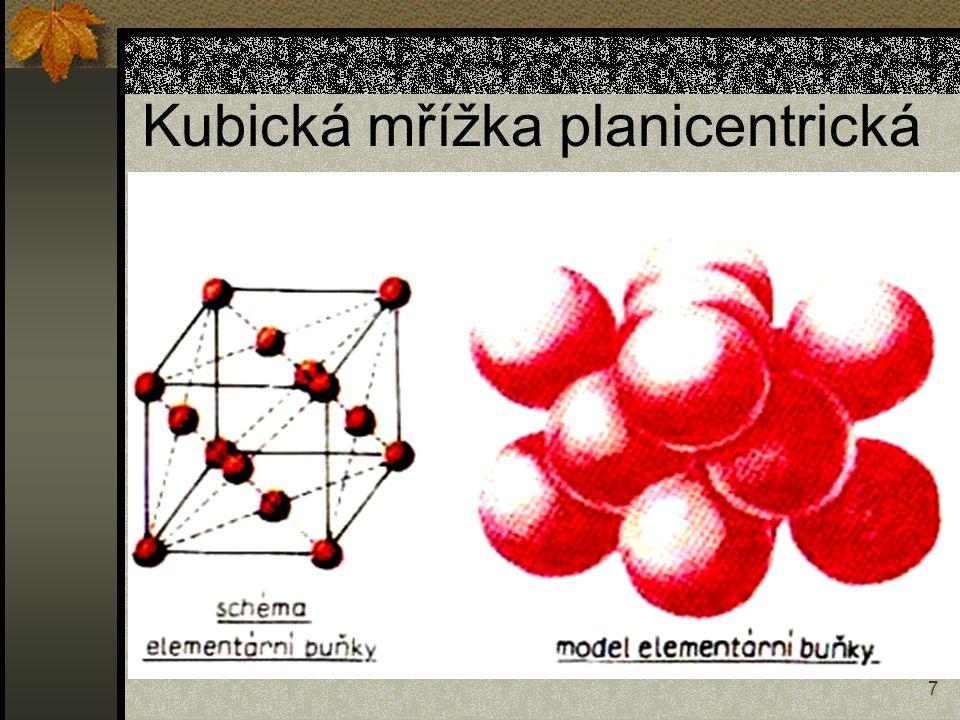 8 Kubická mřížka - charakteristiky Planicentrická a = b = c, α = β = γ = 90° Koef.plnění p = 74 % Počet částic na buňku = 4 Koordinační číslo K12 Stereocentrická a = b = c, α = β = γ = 90° Koef.plnění p = 68 % Počet částic na buňku = 2 Koordinační číslo K8