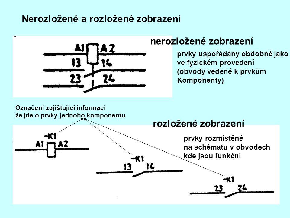 Nerozložené a rozložené zobrazení nerozložené zobrazení rozložené zobrazení prvky uspořádány obdobně jako ve fyzickém provedení (obvody vedené k prvků