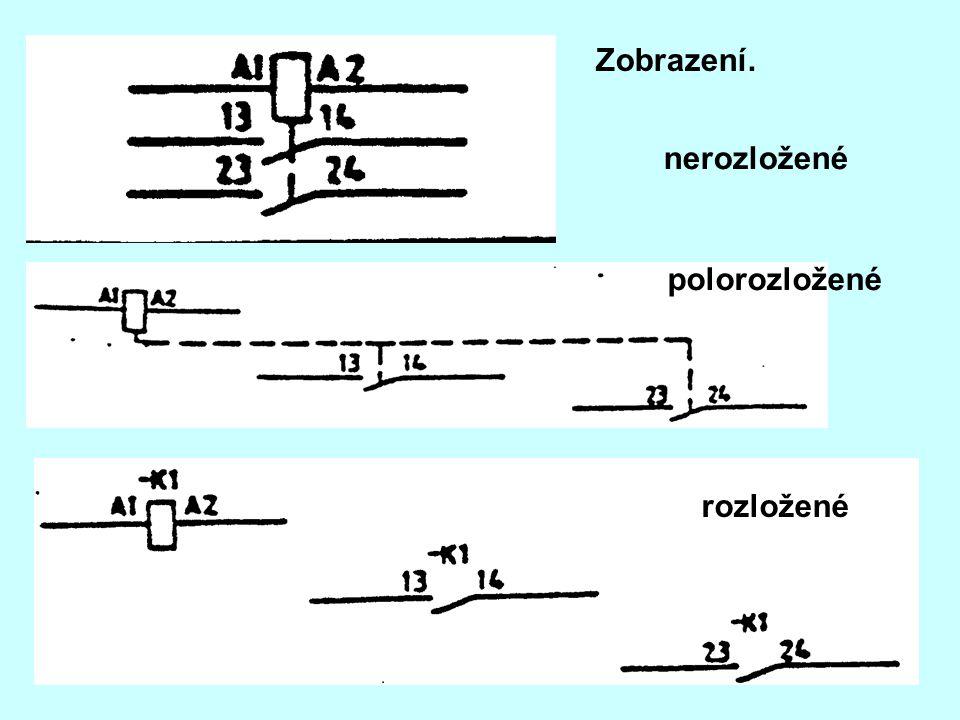 Opakované zobrazení zobrazení, při němž se celá značka téhož komponentu na schématu opakuje vícekrát a písmenočíslicové označení zajišťuje srozumitelnost schématu