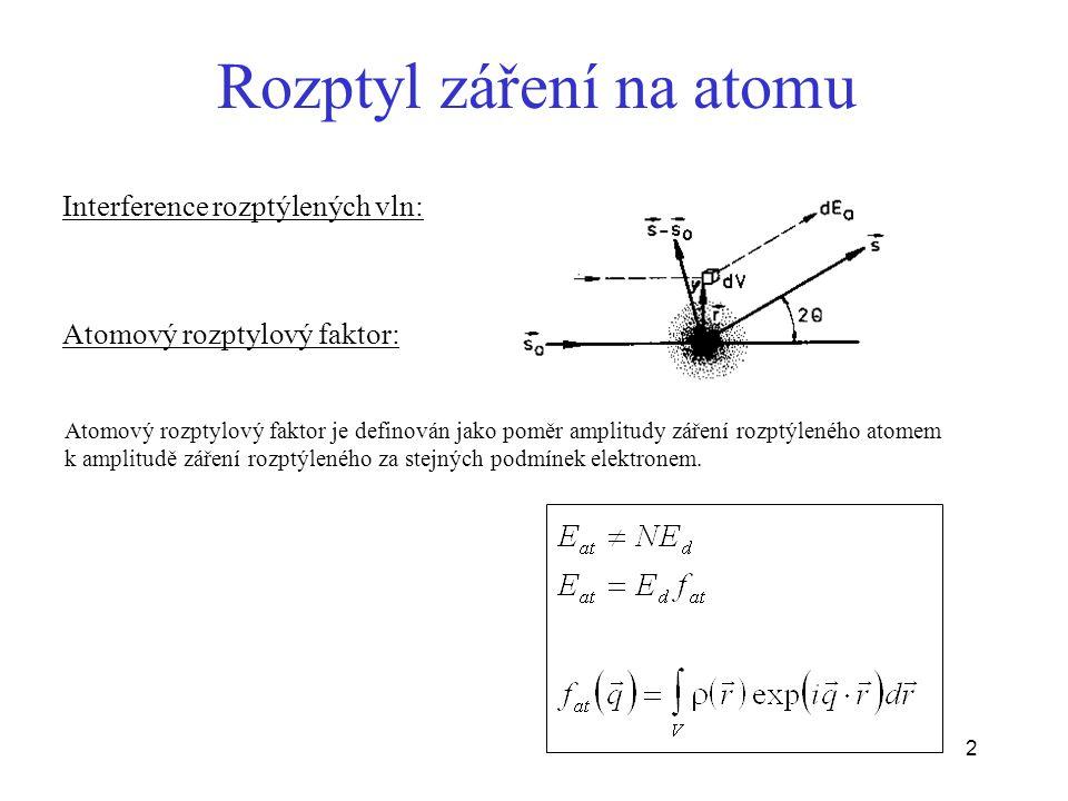 2 Rozptyl záření na atomu Interference rozptýlených vln: Atomový rozptylový faktor: Atomový rozptylový faktor je definován jako poměr amplitudy záření