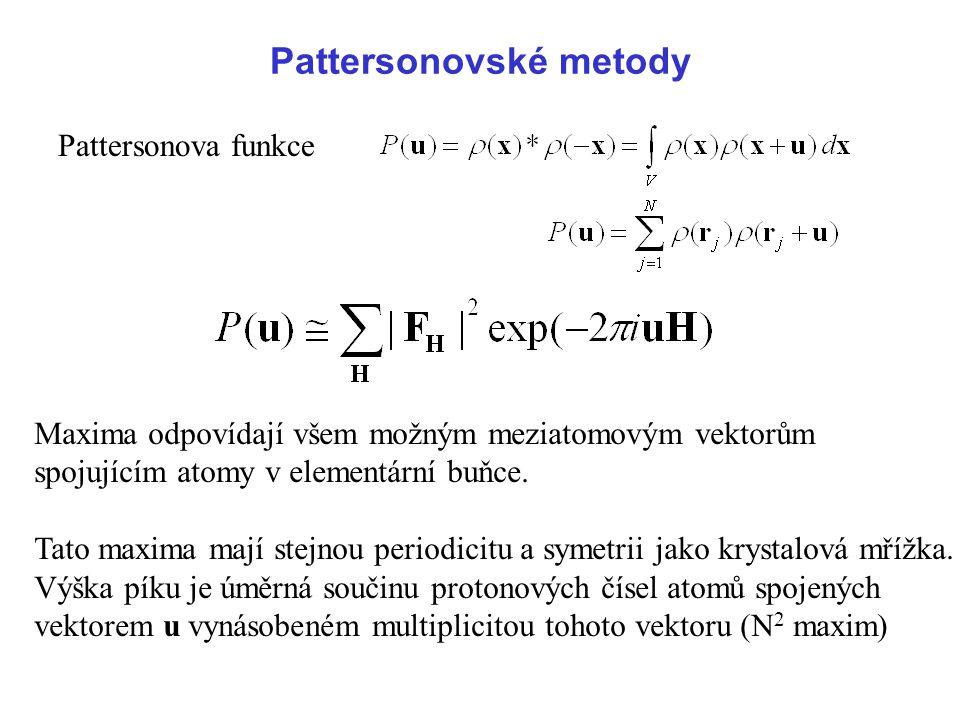 Pattersonovské metody Pattersonova funkce Maxima odpovídají všem možným meziatomovým vektorům spojujícím atomy v elementární buňce. Tato maxima mají s