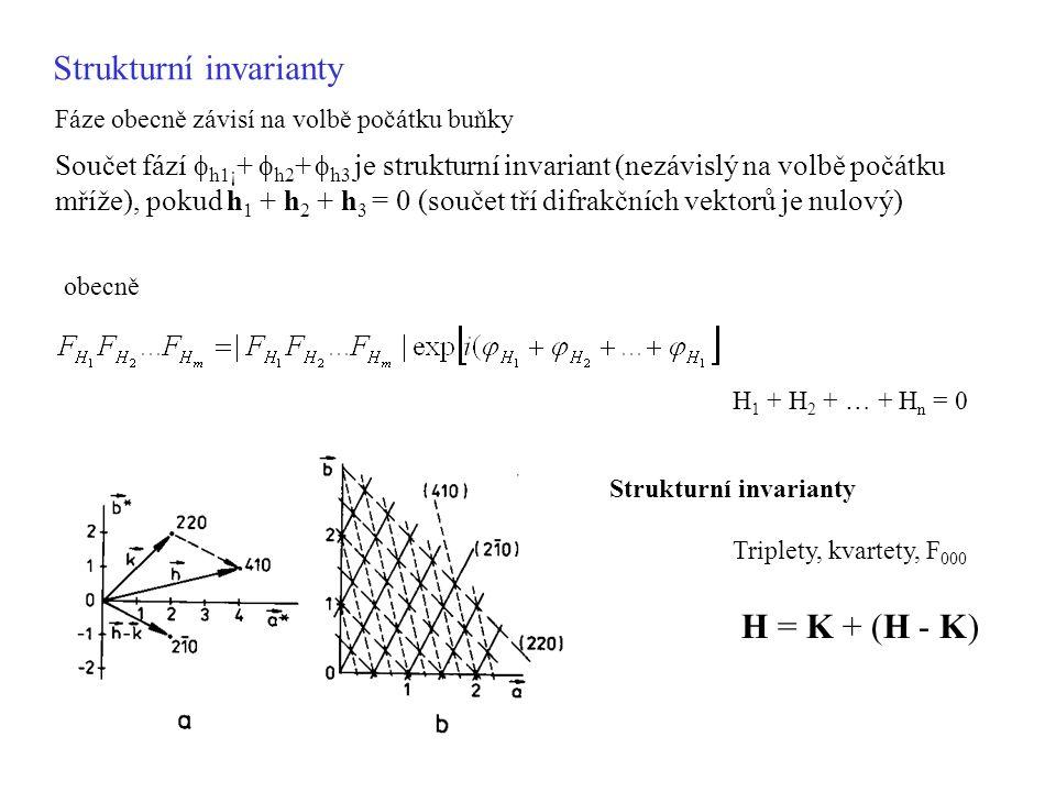 H = K + (H - K) Strukturní invarianty Triplety, kvartety, F 000 obecně H 1 + H 2 + … + H n = 0 Součet fází  h1¡ +  h2 +  h3 je strukturní invariant