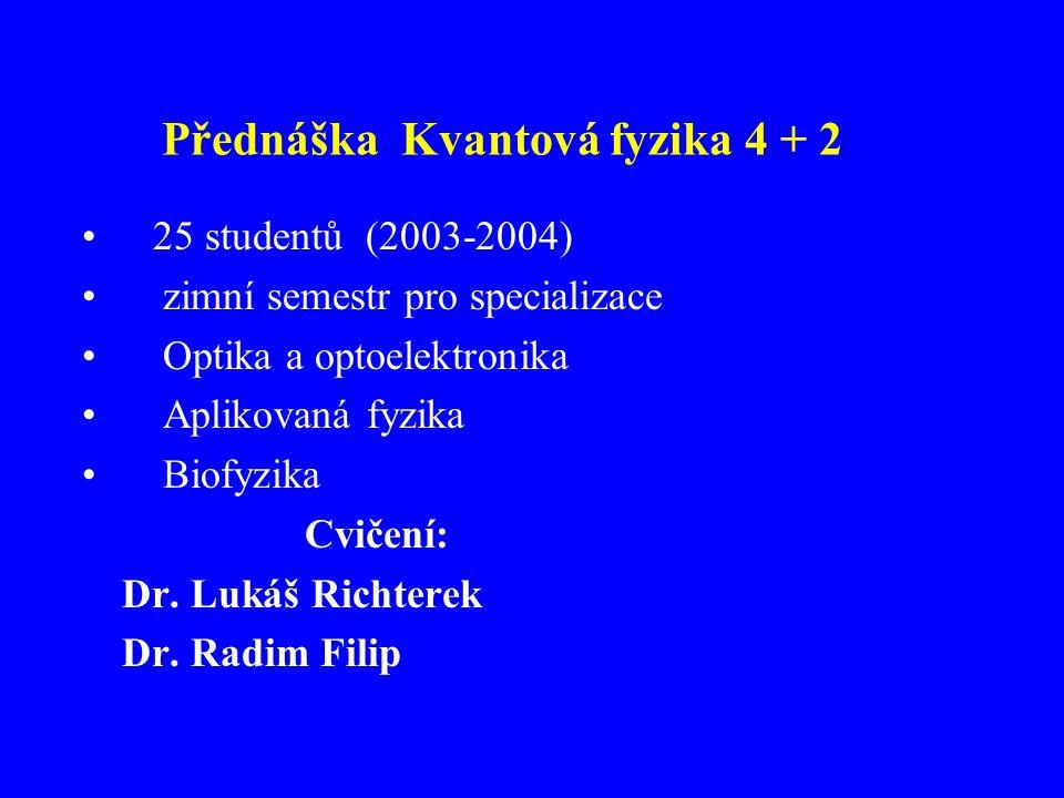 Přednáška Kvantová fyzika 4 + 2 25 studentů (2003-2004) zimní semestr pro specializace Optika a optoelektronika Aplikovaná fyzika Biofyzika Cvičení: D