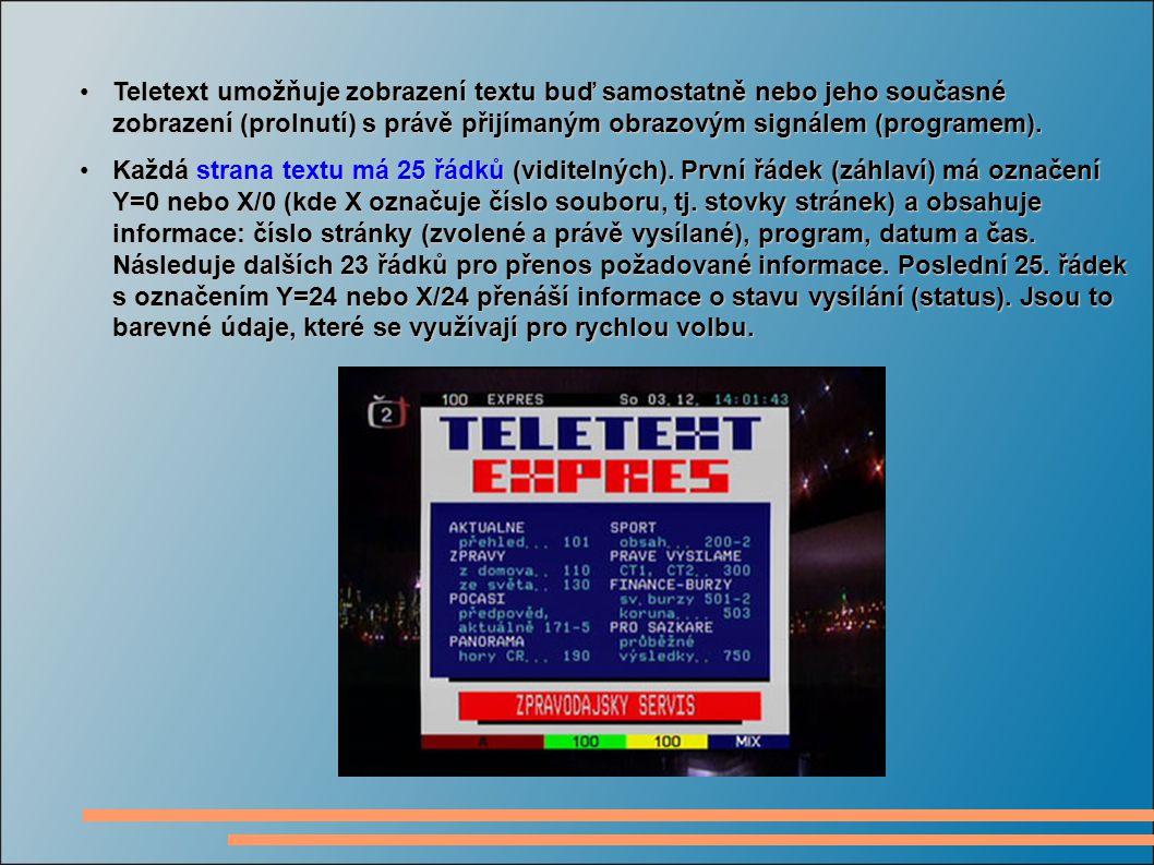Teletext umožňuje zobrazení textu buď samostatně nebo jeho současné zobrazení (prolnutí) s právě přijímaným obrazovým signálem (programem).Teletext umožňuje zobrazení textu buď samostatně nebo jeho současné zobrazení (prolnutí) s právě přijímaným obrazovým signálem (programem).