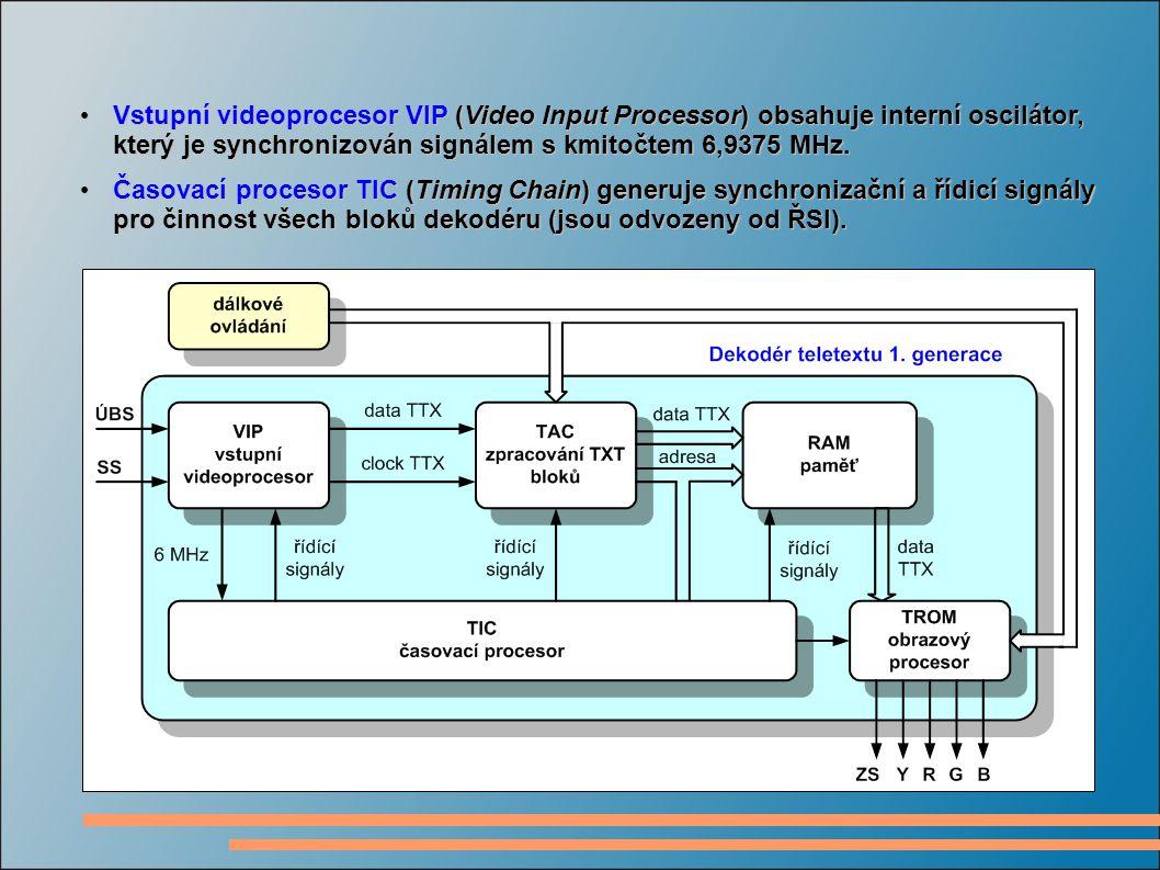 Vstupní videoprocesor VIP (Video Input Processor) obsahuje interní oscilátor, který je synchronizován signálem s kmitočtem 6,9375 MHz.