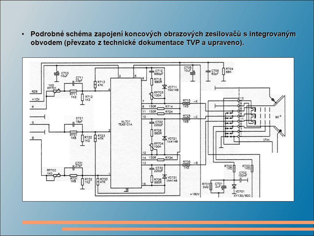 Podrobné schéma zapojení koncových obrazových zesilovačů s integrovaným obvodem (převzato z technické dokumentace TVP a upraveno).Podrobné schéma zapojení koncových obrazových zesilovačů s integrovaným obvodem (převzato z technické dokumentace TVP a upraveno).