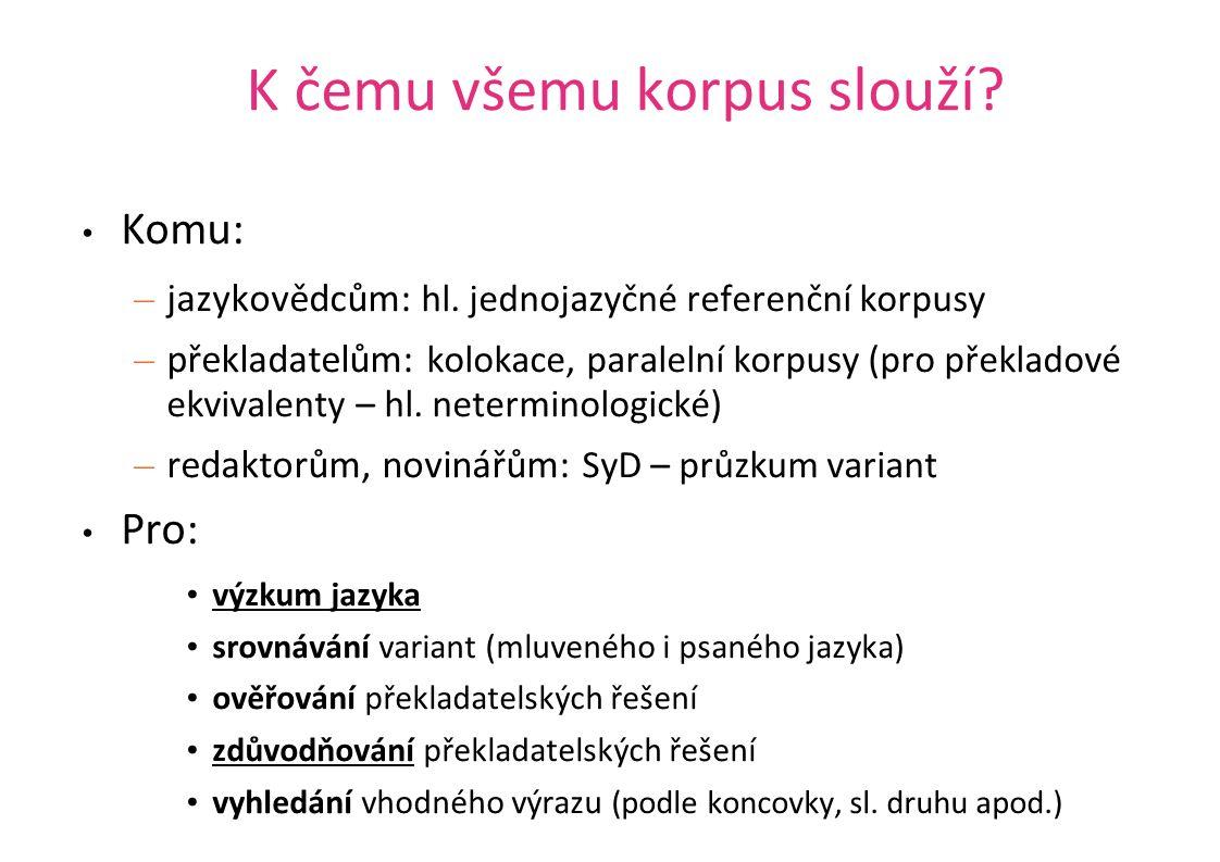 K čemu všemu korpus slouží? Komu: – jazykovědcům: hl. jednojazyčné referenční korpusy – překladatelům: kolokace, paralelní korpusy (pro překladové ekv