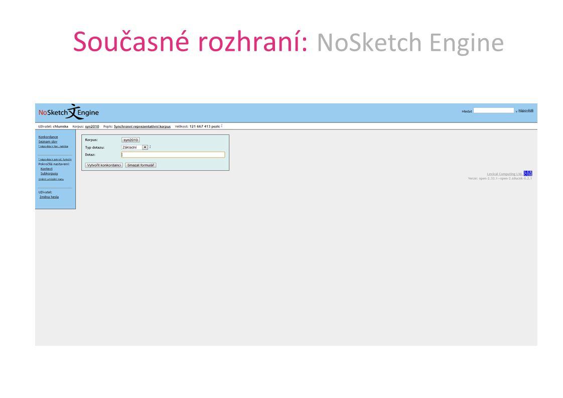 Současné rozhraní: NoSketch Engine