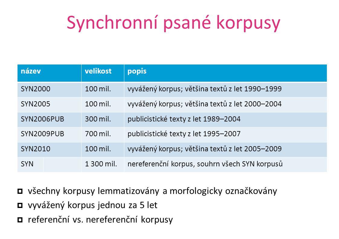 Synchronní psané korpusy  všechny korpusy lemmatizovány a morfologicky označkovány  vyvážený korpus jednou za 5 let  referenční vs. nereferenční ko