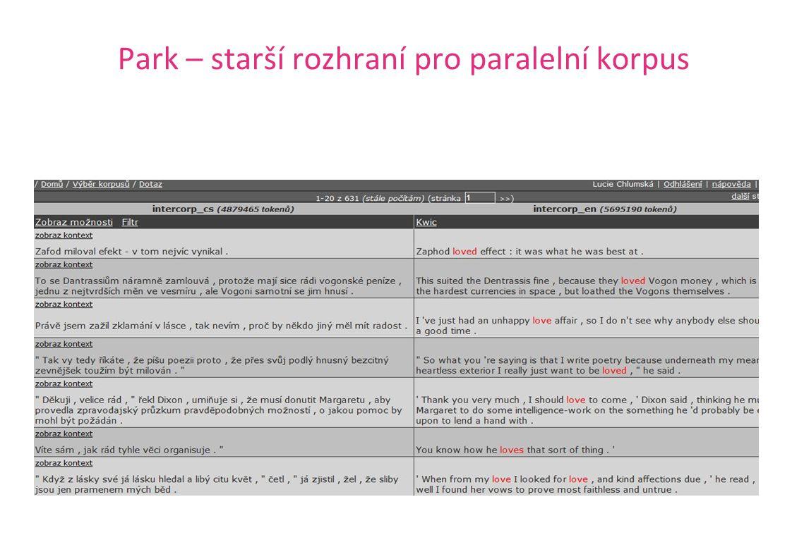 Park – starší rozhraní pro paralelní korpus