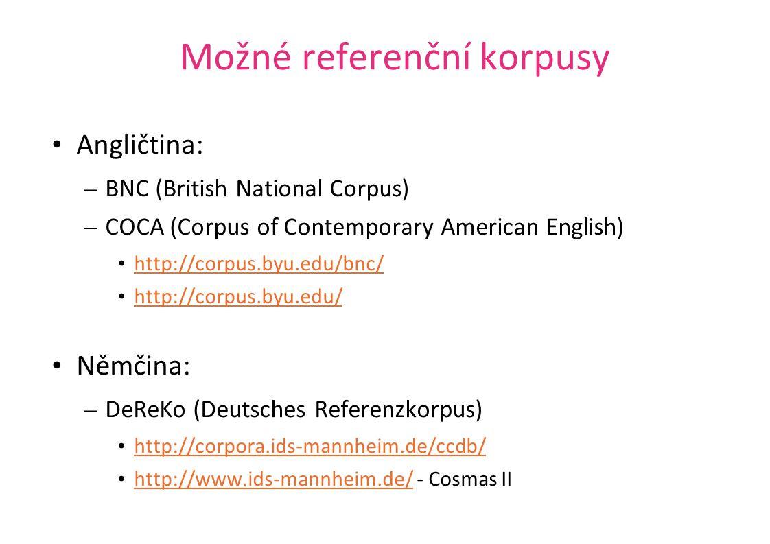 Možné referenční korpusy Angličtina: – BNC (British National Corpus) – COCA (Corpus of Contemporary American English) http://corpus.byu.edu/bnc/ http: