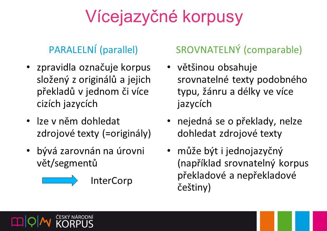Vícejazyčné korpusy PARALELNÍ (parallel) zpravidla označuje korpus složený z originálů a jejich překladů v jednom či více cizích jazycích lze v něm do