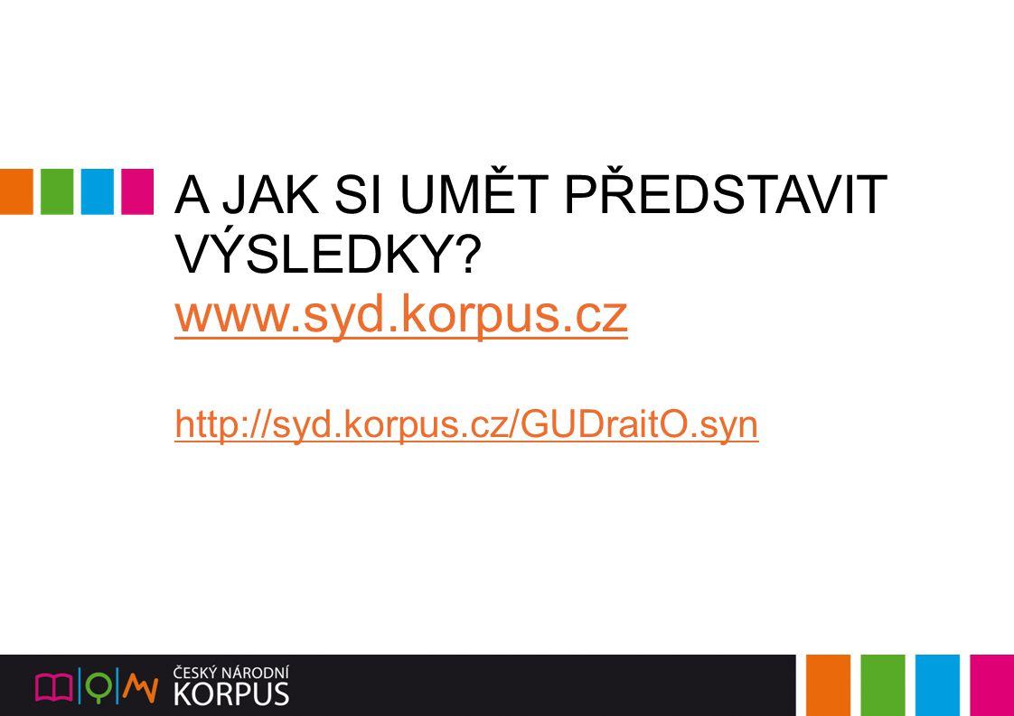 A JAK SI UMĚT PŘEDSTAVIT VÝSLEDKY? www.syd.korpus.cz http://syd.korpus.cz/GUDraitO.syn