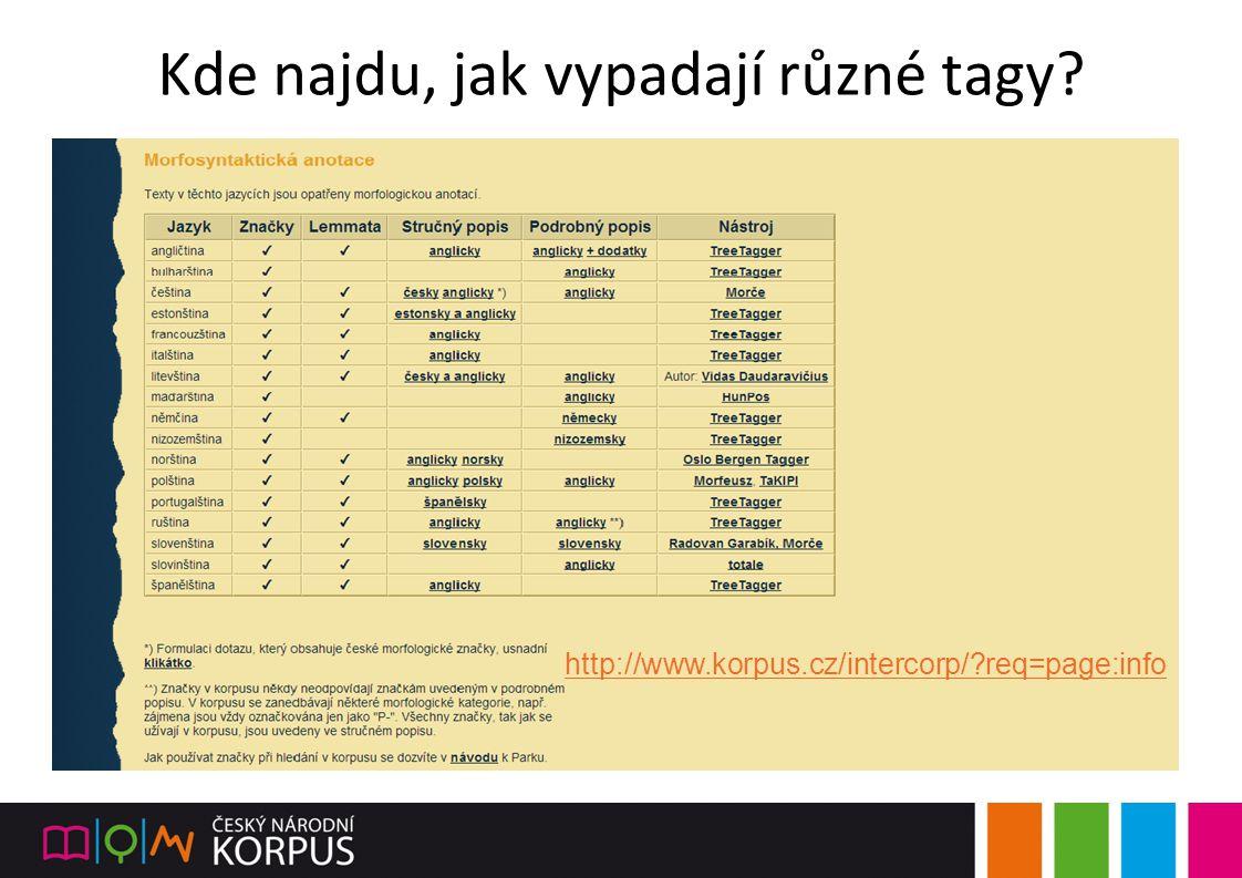 Kde najdu, jak vypadají různé tagy? http://www.korpus.cz/intercorp/?req=page:info