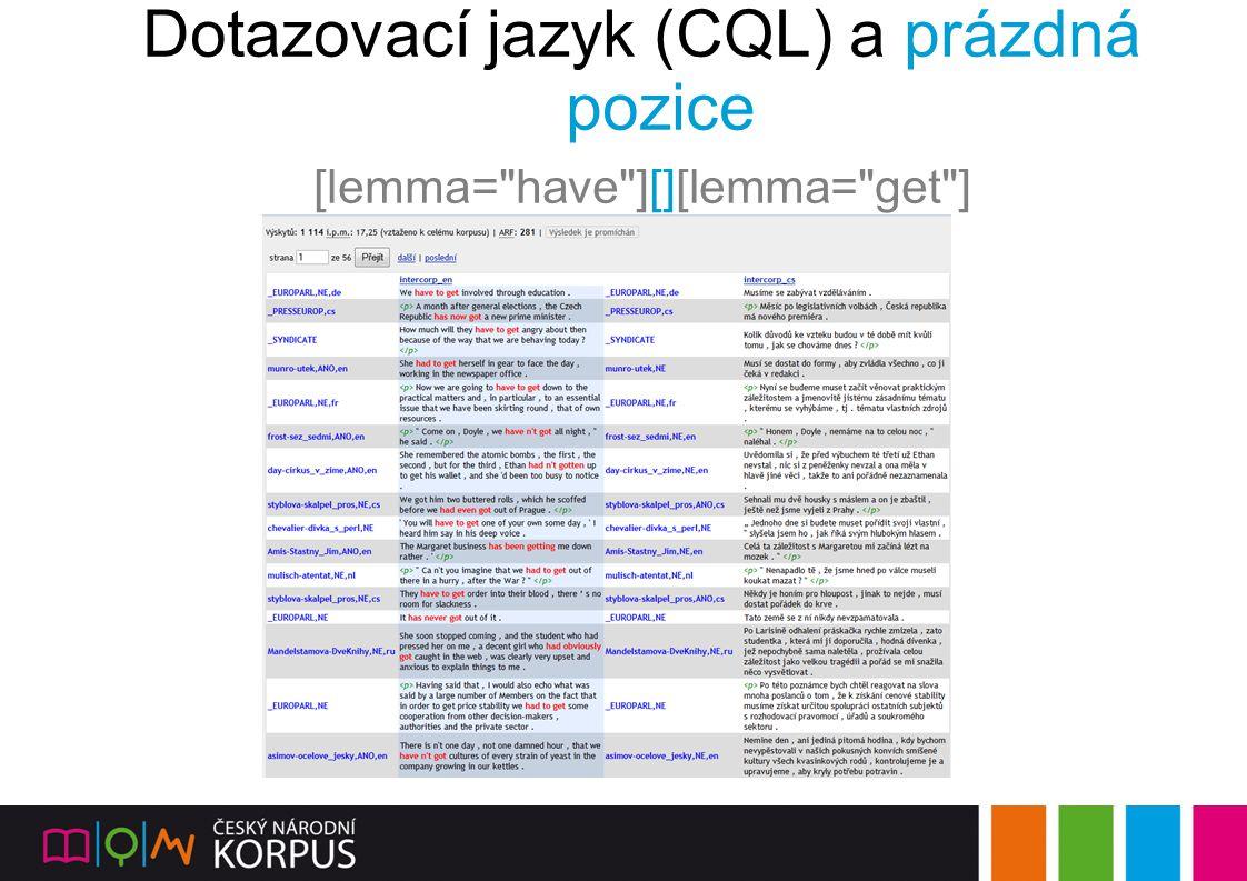 Dotazovací jazyk (CQL) a prázdná pozice [lemma=