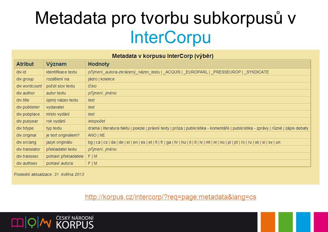 Metadata pro tvorbu subkorpusů v InterCorpu http://korpus.cz/intercorp/?req=page:metadata&lang=cs