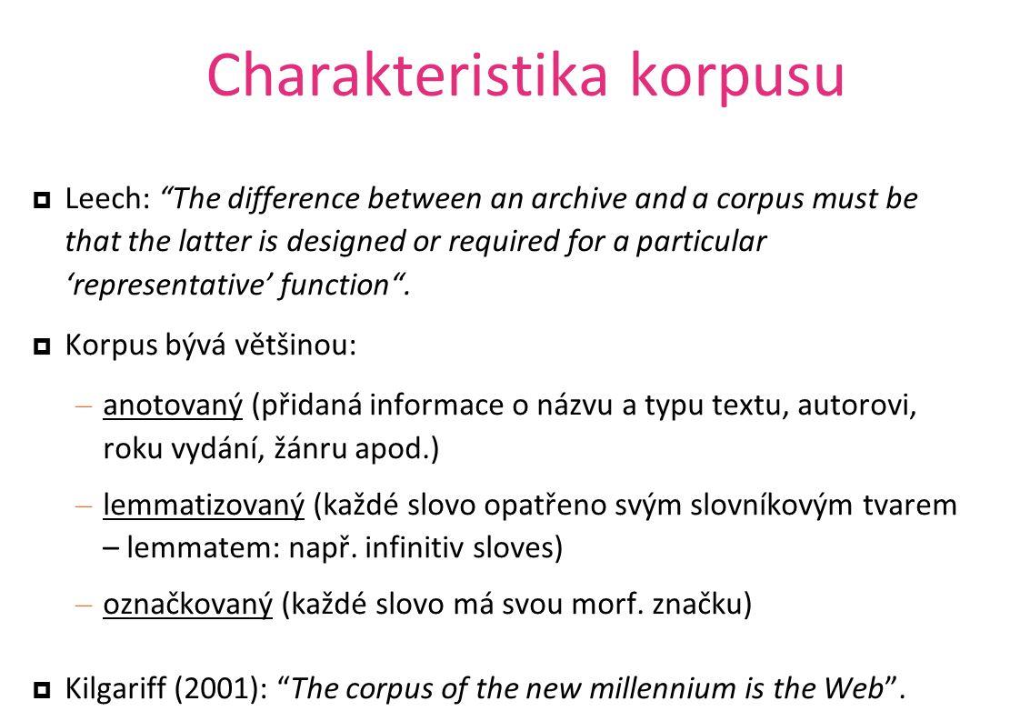 Corpus Query Language úplná podoba dotazu [atribut= hodnota ] atributy: word (slovní tvar), lemma (slovníkový tvar), tag (morfologická značka), příp.