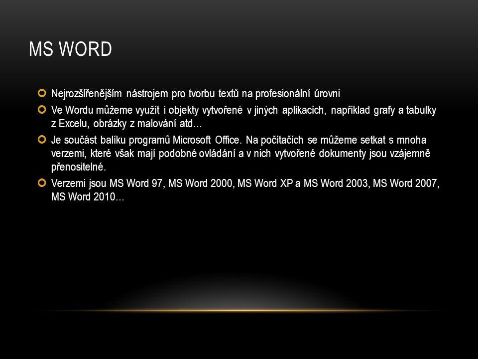 MS WORD Nejrozšířenějším nástrojem pro tvorbu textů na profesionální úrovni Ve Wordu můžeme využít i objekty vytvořené v jiných aplikacích, například