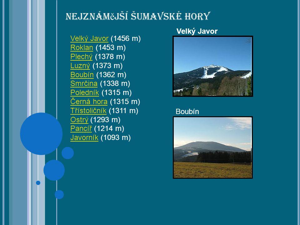 Nejznám ě jší Šumavské hory Velký JavorVelký Javor (1456 m) RoklanRoklan (1453 m) PlechýPlechý (1378 m) LuznýLuzný (1373 m) BoubínBoubín (1362 m) SmrčinaSmrčina (1338 m) PoledníkPoledník (1315 m) Černá horaČerná hora (1315 m) TřístoličníkTřístoličník (1311 m) OstrýOstrý (1293 m) PancířPancíř (1214 m) JavorníkJavorník (1093 m) Velký Javor Boubín