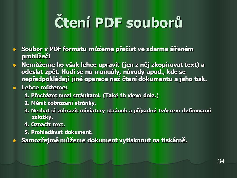Čtení PDF souborů Soubor v PDF formátu můžeme přečíst ve zdarma šířeném prohlížeči Soubor v PDF formátu můžeme přečíst ve zdarma šířeném prohlížeči Nemůžeme ho však lehce upravit (jen z něj zkopírovat text) a odeslat zpět.