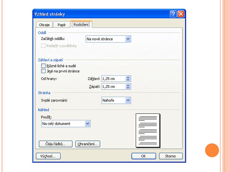 Word - Číslování stránek K vložení čísel stránek použijeme vestavěnou funkci Wordu, která číslování vloží dle vaší volby do zápatí, nebo záhlaví.