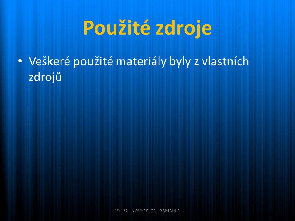 Použité zdroje Veškeré použité materiály byly z vlastních zdrojů VY_32_INOVACE_08 - BAMBULE