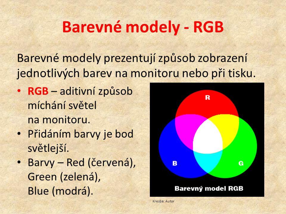 Barevné modely - RGB Barevné modely prezentují způsob zobrazení jednotlivých barev na monitoru nebo při tisku. RGB – aditivní způsob míchání světel na