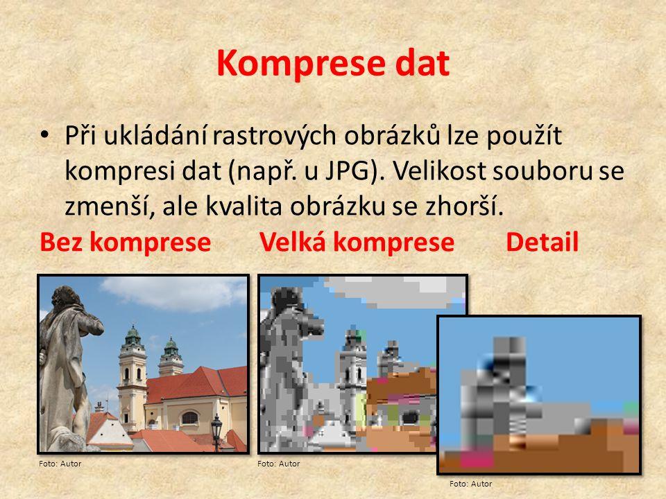 Komprese dat Při ukládání rastrových obrázků lze použít kompresi dat (např. u JPG). Velikost souboru se zmenší, ale kvalita obrázku se zhorší. Bez kom