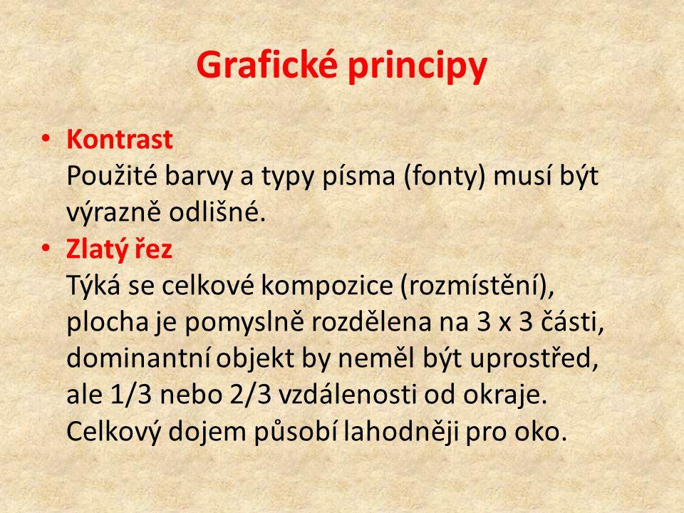 Grafické principy Kontrast Použité barvy a typy písma (fonty) musí být výrazně odlišné.