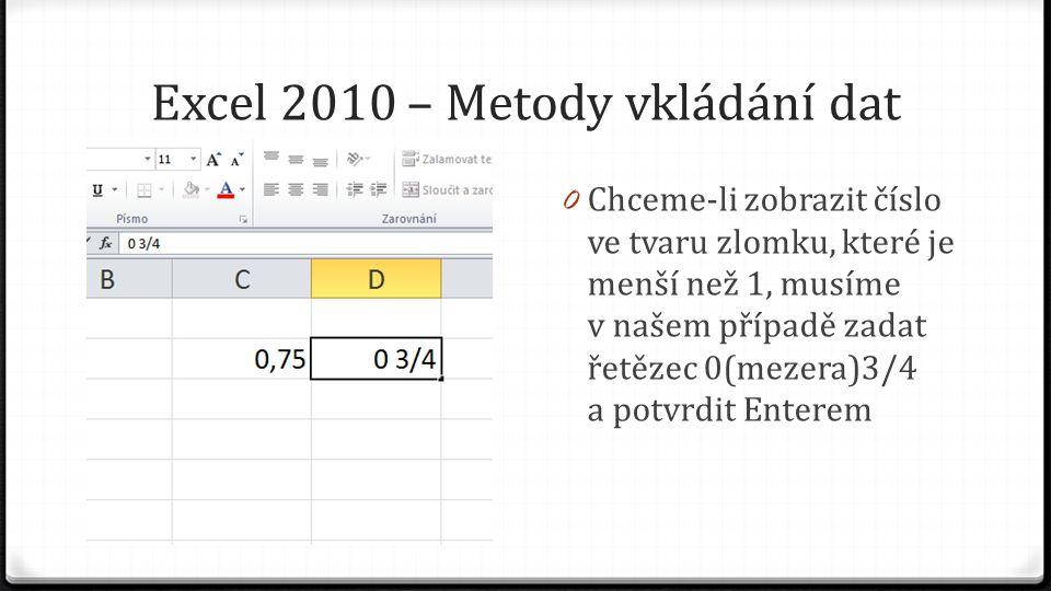Excel 2010 – Metody vkládání dat 0 Chceme-li zobrazit číslo ve tvaru zlomku, které je menší než 1, musíme v našem případě zadat řetězec 0(mezera)3/4 a potvrdit Enterem