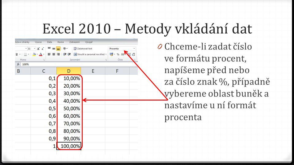 Excel 2010 – Metody vkládání dat 0 Chceme-li zadat číslo ve formátu procent, napíšeme před nebo za číslo znak %, případně vybereme oblast buněk a nastavíme u ní formát procenta